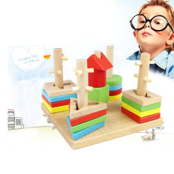 Geometria de madeira Blocos de empilhamento em brinquedos para crianças de 1 ano até Cor Educacional Shape Sorter Montessori aprendendo brinquedo para o Bebé meninos meninas com placa de armazenamento seguro para crianças
