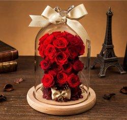 Dôme en verre éternelle de Vente chaude Fleur Rose préservé cadeaux de mariage pour les anciens combattants Jour