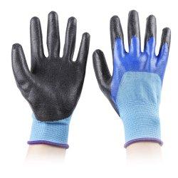 10 maat 2 Garen Polycotton/de Katoenen Palm van de Voering/de half Ondergedompelde Handschoen van de Hand van het Werk van de Veiligheid van het Latex van de Kreuk Rubber Met een laag bedekte