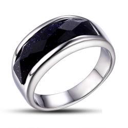 Alto anello Polished di vetro nero dell'acciaio inossidabile