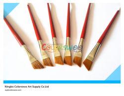 brosse angulaire en nylon d'artiste de cheveux de la poignée 6PCS en bois pour la peinture et le schéma (couleur rouge)