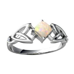 Femme forme triangle Silver Wedding Bague opale