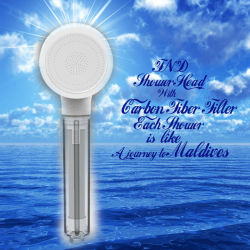 Douchekop voor badkamerproducten met koolstoffilter