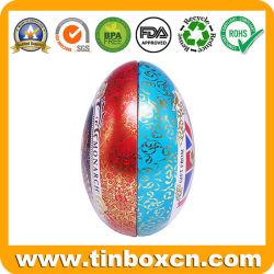 Elegante forma ovo crianças personalizados podem Dom Caixa de estanho metálico para os doces de chocolate Embalagem Festival de Páscoa