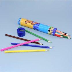 Artigos de papelaria 7 Polegada 12 PCS Lápis coloridos no caso de metal/Tubo com impressão a cores topo de plástico com tampa do afiador