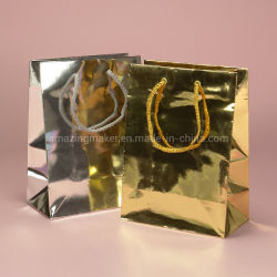 Llamativo papel metálico Euro Tote Bag de tela para promoción