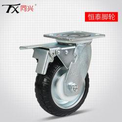 """8 """"鋼鉄コアブレーキが付いているゴム製旋回装置の足車の車輪"""