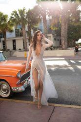 V-Neck Beach Vestido de Novia alto rebordeado Backless dividir una línea de tul Boho sexy vestido de novia Vintage