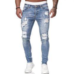 Mode de gros hommes jeans pantalons jeans déchirés Custom