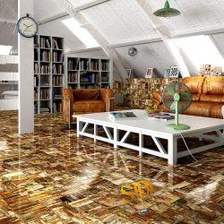 クロスカットの床および壁のための古代半貴石造りのレトロの化石木の宝石用原石の平板