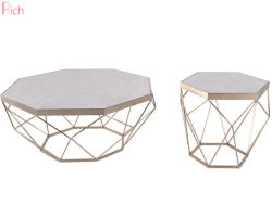 Woonkamer Wit Marmer Koffie Side Table Klein Formaat Metaal Gouden Frame Hexagon Vorm