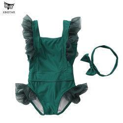 Großhandelsbadeanzug-Kind-Badeanzug-Schwimmen-Kostüm-kleines Mädchen-Blumen-Druck-Gleichheit-zurück zweiteiliges Rüsche-Badeanzug-Bikini-Set