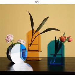 Acrílico claro moderno florero de flores