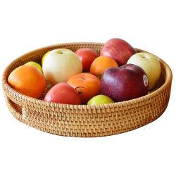 Renelの藤の柳細工の杖の円形の表示食糧パンの記憶のバスケット