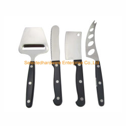 4pcs Set cuchillos queso multiuso con tres remaches mango
