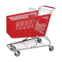 عربة تسوق سوبر ماركت بلاستيكية على طراز 165L مع لون أحمر