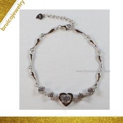 Commerce de gros de mode de haute qualité 925 Silver Design en forme de coeur Bracelet bijoux avec Zircone