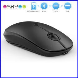 Pilha recarregável USB 2.4G silenciosa Slim 3D Optical Mouse Bluetooth sem fio ergonómica