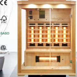 Het houten veel Infrarode die Huis van de Sauna van de Dollekervel van Canada met Ceramische het Verwarmen Staaf Geschikt voor het Gebruik van de Familie als Apparatuur van de Schoonheid van het Lichaam ook voor het Centrum van de Geschiktheid wordt gemaakt