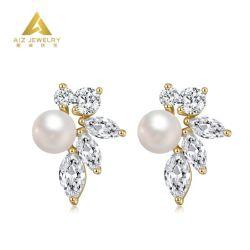 方法カスタム宝石類の真珠の耳のスタッドの模造ダイヤモンドの宝石類925の銀製のスタッドのイヤリング