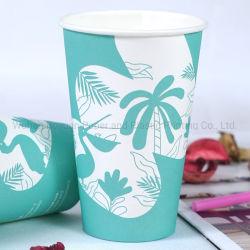 La FDA único vaso de papel desechables amurallada con tapa para el té de la Cafetería Bar de Playa de mar vacaciones