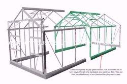 Amplamente usado grande jardim Green House com tampa de plástico e verde da Estrutura de alumínio (RDGA-PLUS3-6mm (kit de extensão))
