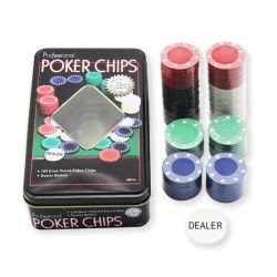 Personalizar el Casino juego de mesa fichas de póquer en caja de hierro juego de fichas