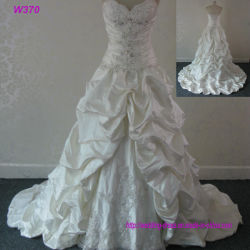 Bustier Sweetheart nervurage en dentelle attraper Plait taffetas de robes de mariée