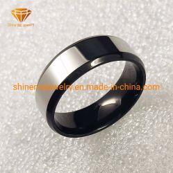 Мода полированной поверхности серебра и нижней части черного цвета из нержавеющей стали корпусе кольца украшения SSR1968