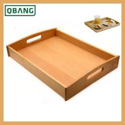 Disco di legno di bambù della prima colazione del caffè del cassetto rustico del servizio con le maniglie ovali del ritaglio