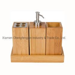 4피스 베니티 우아한 대나무 및 대나무 욕실 악세사리 침실 세트 욕실