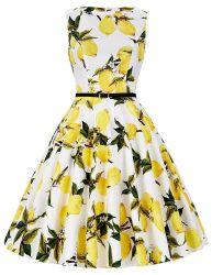 31en blanco y amarillo limón sin mangas cortas finas sexy vestido de té