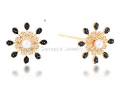 925 Silver 14K 18K Pearl pierre de couleur Mode bijoux/Post Earring/Brincos