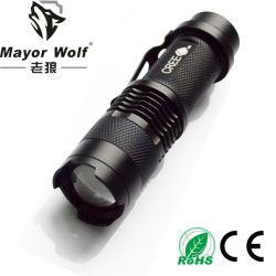 Mini torcia elettrica ricaricabile della polizia LED della torcia 1101 dell'obiettivo di zoom XPE