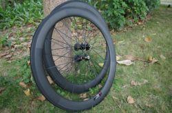 Трубчатые Clincher 60мм 700c углеродного волокна велосипедных колес