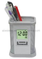 ساعة حامل قلم مكتب ساعة المنبّه