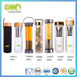 Ga6000 novos BPA-Free 500ml Bambu duplo de tampa de vidro de parede Canecas grosso com Tea Infuser água vidro vidro garrafa de vidro basculante Cup