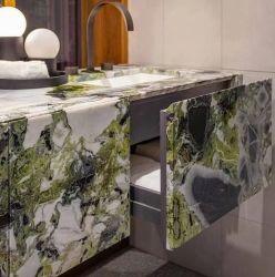 2cm de tamanho grande beleza Branco Gelo verde-esmeralda mármore natural artificial de textura de porcelana sinterizado Laje de Pedra Cozinha Mesa Bancada para venda