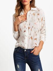 2017 Fleur d'impression de haute qualité de la pure blouses à manches longues Commerce de gros
