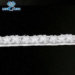 Trecho de licra de nylon branco Guarnição Renda Floral de lingeries