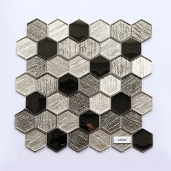 300*300mm cocina expulsión elemento metálico mosaico hexagonal mosaico de vidrio