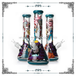 Desenho de mão 7mm Copo de vidro Hookah fumar estoque do tubo de água