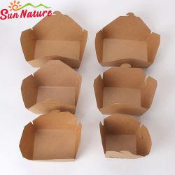 Sun nature jetable pliable facile du papier kraft et boîte à lunch