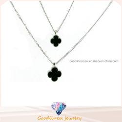 Мода украшения 925 серебристые или латуни ювелирный характер камень оникс Агат клевер пульт управления и шейный ремешок для женщин