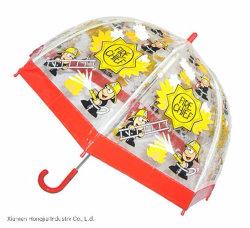 Capo dei vigili del fuoco sveglio personalizzato della figura ombrello trasparente del fumetto dei bambini di stampa