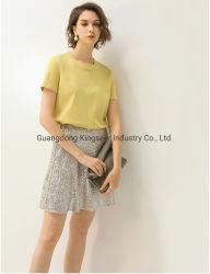 カスタマイズされたNew Fashion Short Sleeveロゴの女性綿織物の偶然のスポーツのTシャツは女性のための衣服に着せる