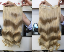 Lange blonde synthetische Welle Kanekalon einteiliger Klipp im Haar
