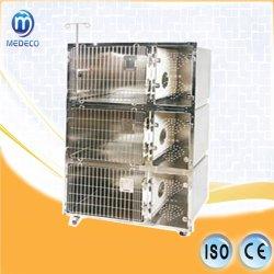 Modello inossidabile Me111A della gabbia del gatto di Tre-Strato della gabbia dell'animale domestico veterinario delle unità