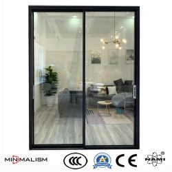 Schmale Anzeigetafel-Schiebetür/Aluminiumrahmen mit lamelliertem Glas für Schlafzimmer