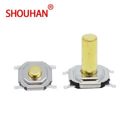 4 SMD*4 Interruptor de tacto 5.2*5.2*1.5 mm Interruptor Momentâneo com cabeça de cobre